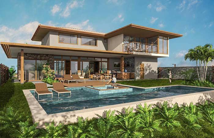 Fundos de casa com piscina e área gourmet