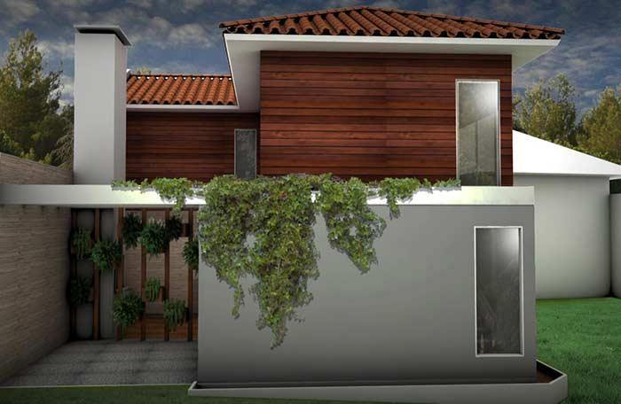 Combine a cor natural da telha com a madeira
