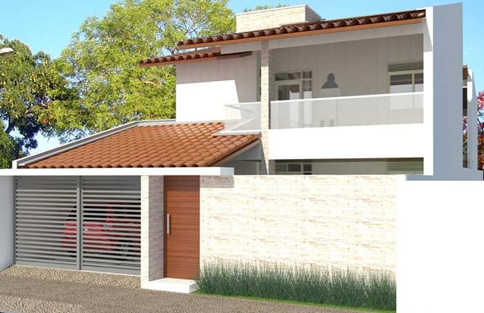 Varanda com telhado colonial