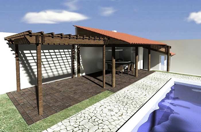 Edícula com pergolado e telhado colonial
