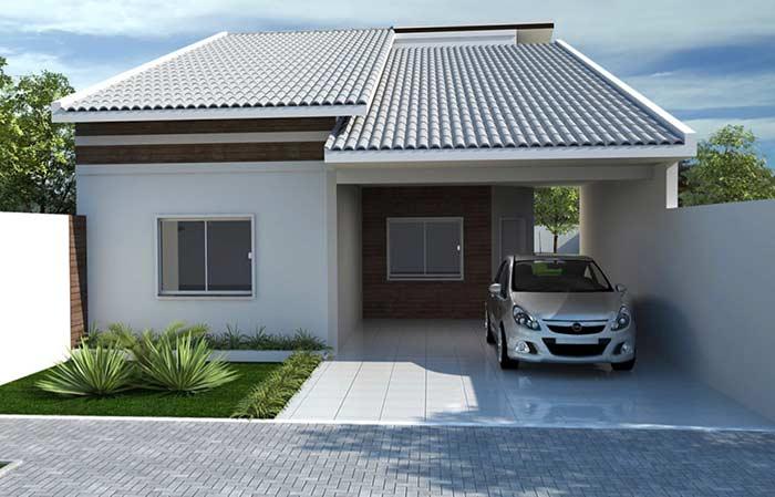 Casa térrea com telhado colonial