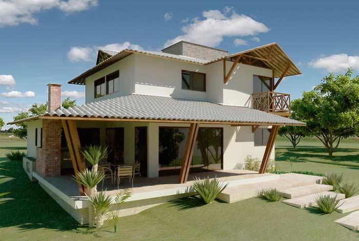 Casa de campo com telhado colonial