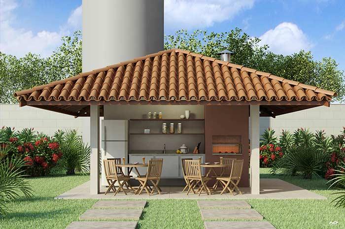 Churrasqueira com telhado colonial