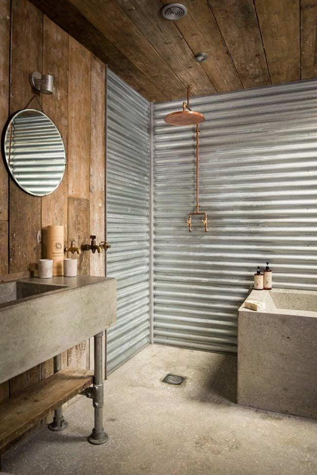 Banheiro masculino no estilo rústico com madeira
