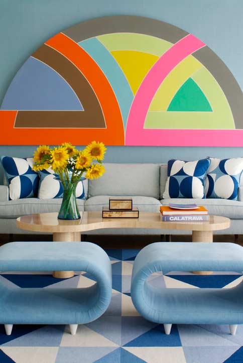 Sala com diferentes padrões do azul