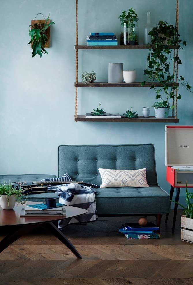 Um toque de verde para uma sala azul