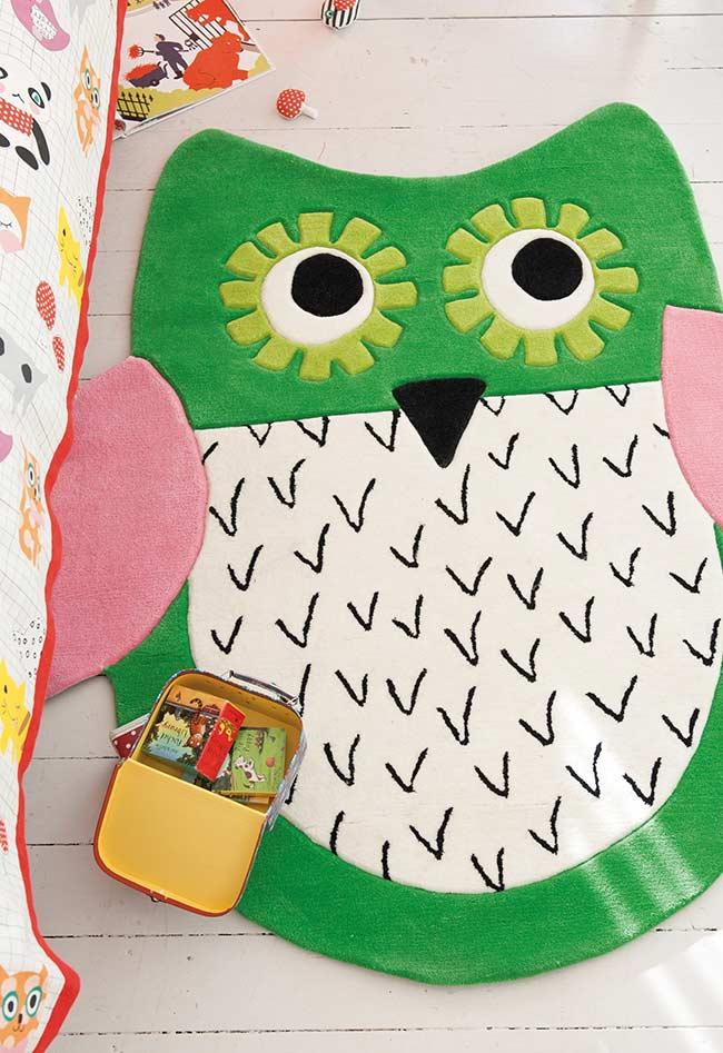 Tapete de coruja super animada para quarto de menina