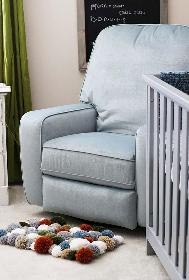 Tapete de pompom pequeno para quarto de bebê