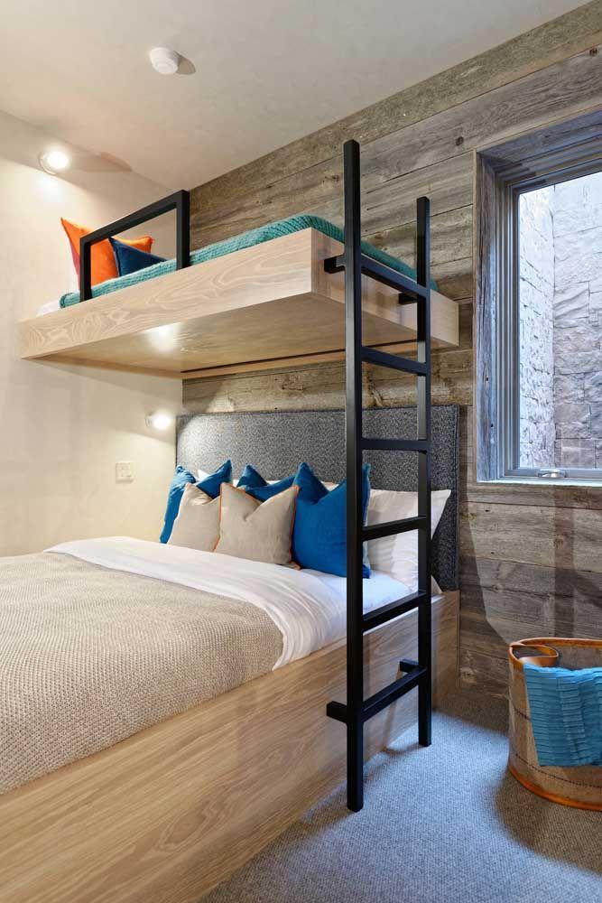 Conjunto planejado de beliche com guarda roupa: otimizar o espaço e decorar o quarto é com eles mesmo