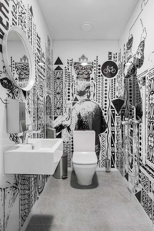 Ornamentos em preto e branco para banheiro masculino