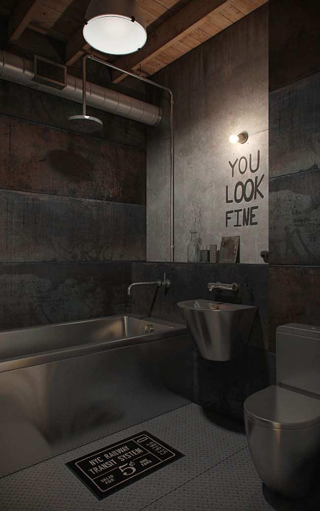 Lavatório, vaso e pia cromados no banheiro com estilo masculino