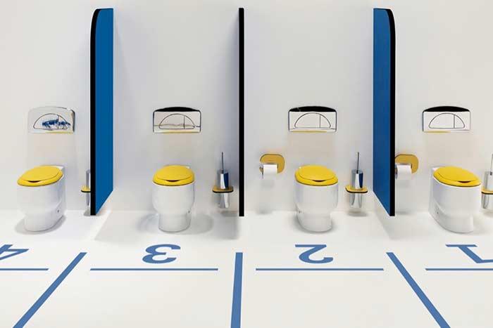 Banheiro masculino coletivo inspirado no atletismo
