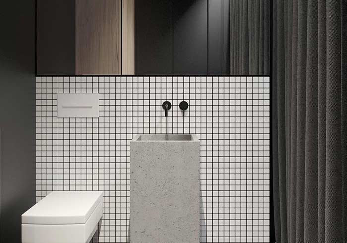 Linhas retas valorizadas neste exemplo de banheiro masculino