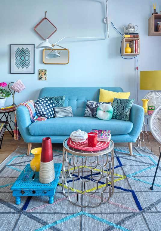 Azul em todos os cantos e diversas tonalidades