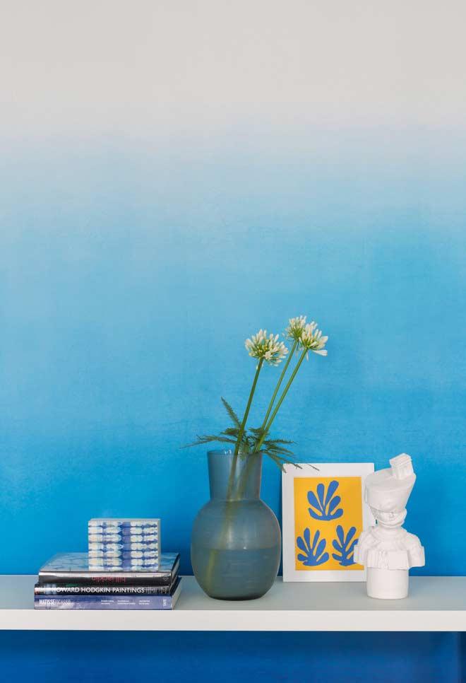 degradê azul na parede