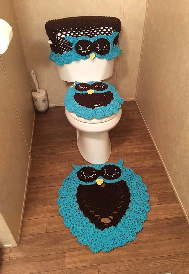 Jogo de banheiro de crochê com tapete de coruja