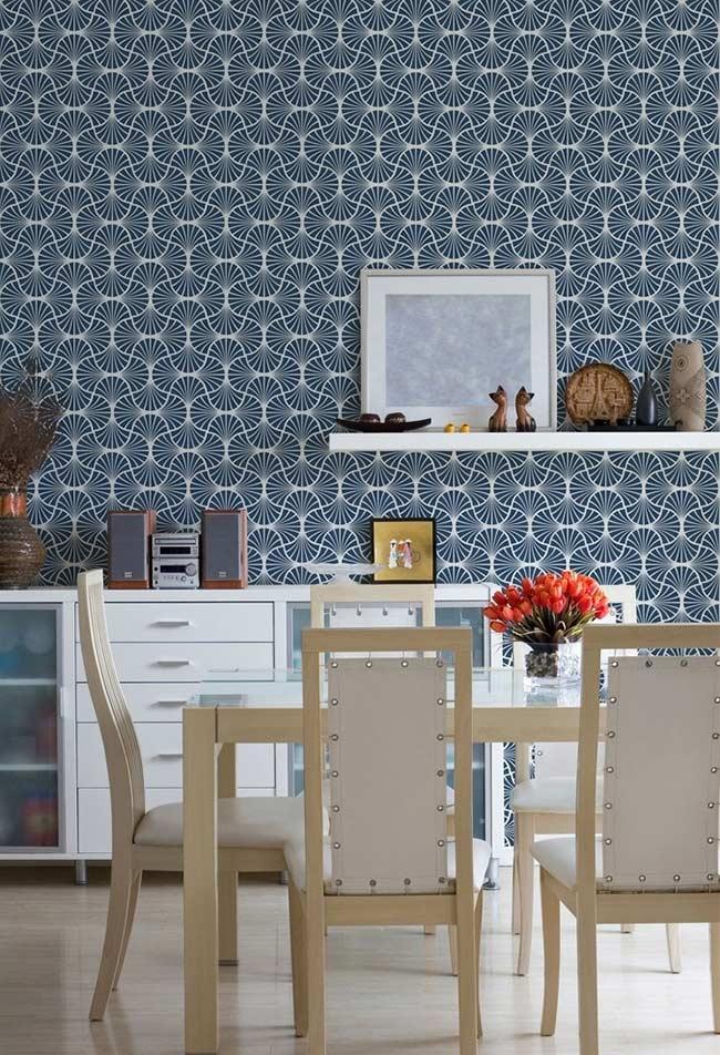 Papel de parede com padrão azul