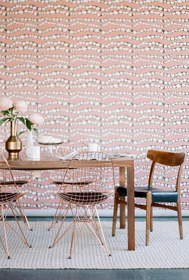 Rosa envelhecido, clássico e moderno para a decoração da sala de jantar