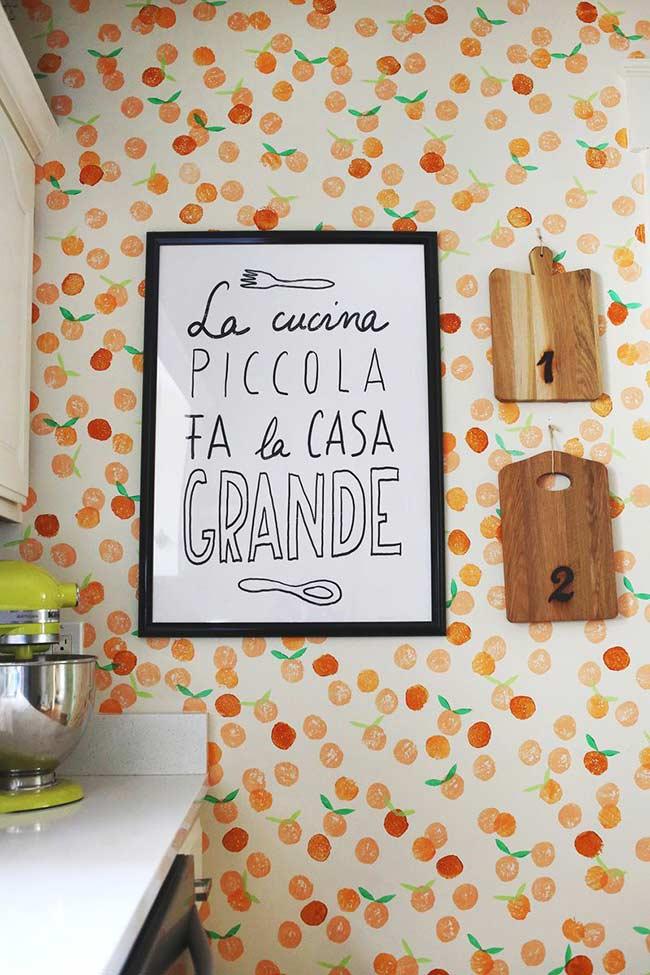 Quadro para cozinha com frase relacionada a comida