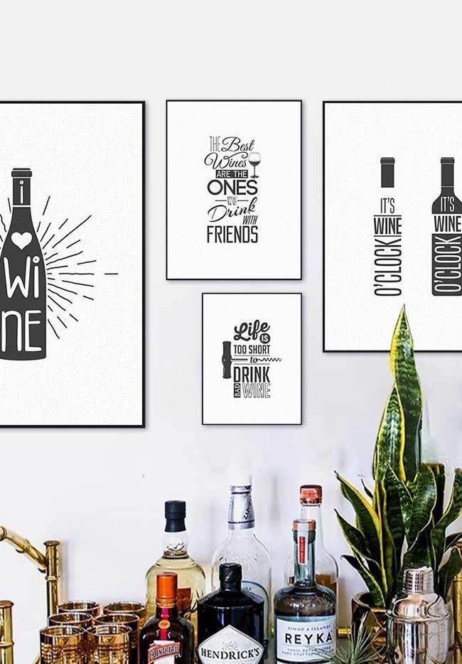 Conjunto de quadros para cozinha no estilo minimalista
