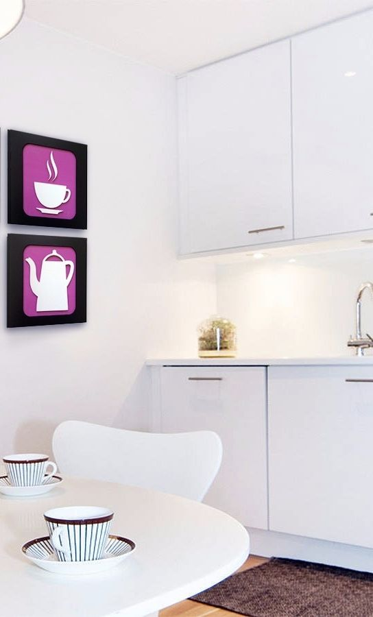 Quadros com pictogramas de xícara e bule