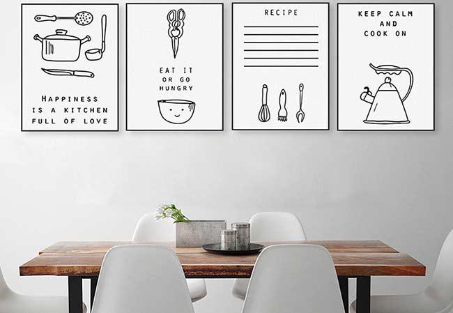 Quatro quadros para quem ama cozinhar