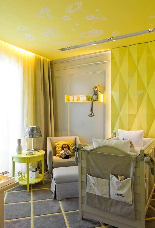 Decoração amarela para quarto de bebê