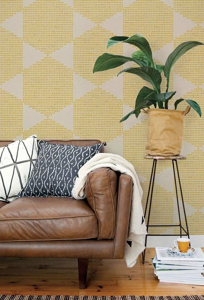 Papel de parede texturizado com amarelo
