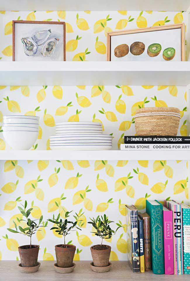 Papel de parede branco com limões sicilianos