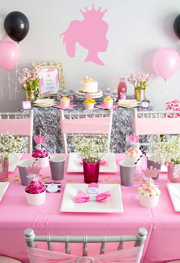 Festa da Princesa com mesa simples