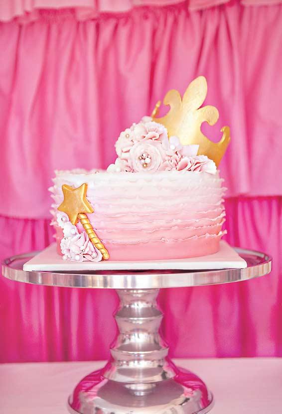 Cobertura degradê rosa para o bolo