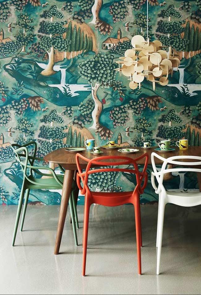 Papel de parede com paisagem ilustrada