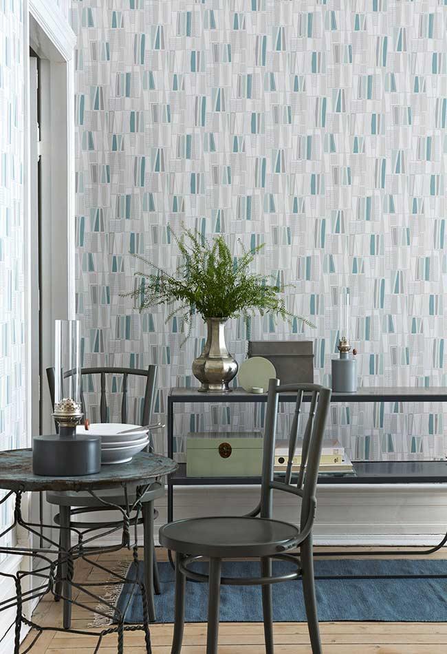 Papel de parede para sala nas cores cinza e azul