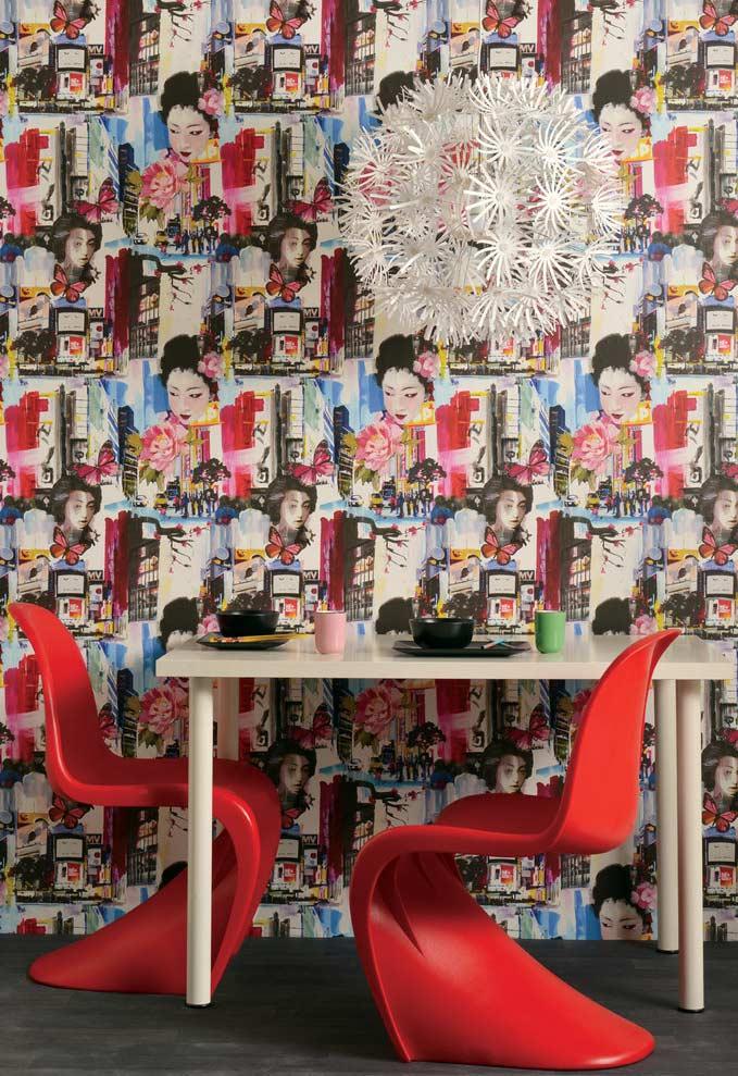 Papel de parede para sala com inspiração japonesa