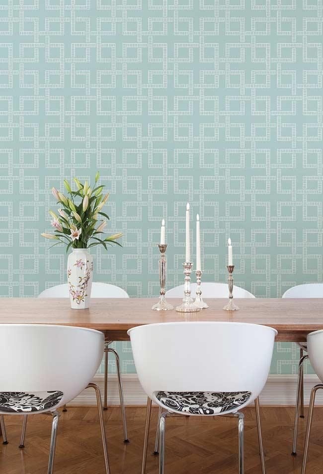 Papel de parede azul para uma decoração clean