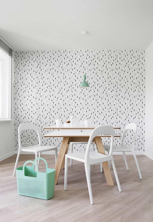 Decoração minimalista no papel de parede para sala de jantar