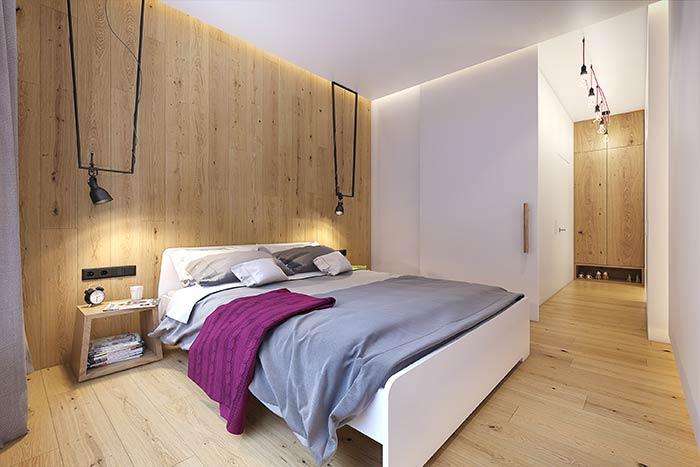 Quarto moderno de casal baseado em madeira