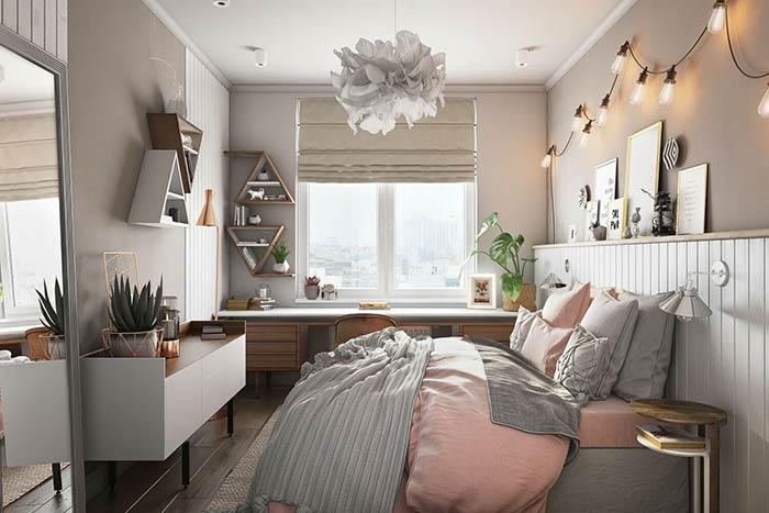 Elementos curvilíneos em quarto de casal moderno