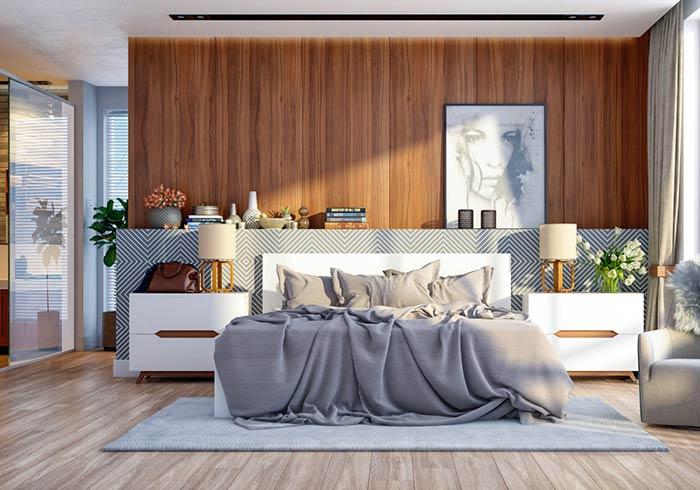 Meia parede como prateleira em quarto de casal moderno
