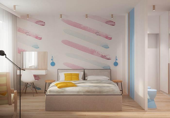 Faixas diagonais em quarto de casal moderno feminino