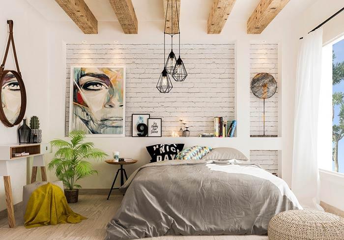 Nichos na parede em quarto de casal moderno
