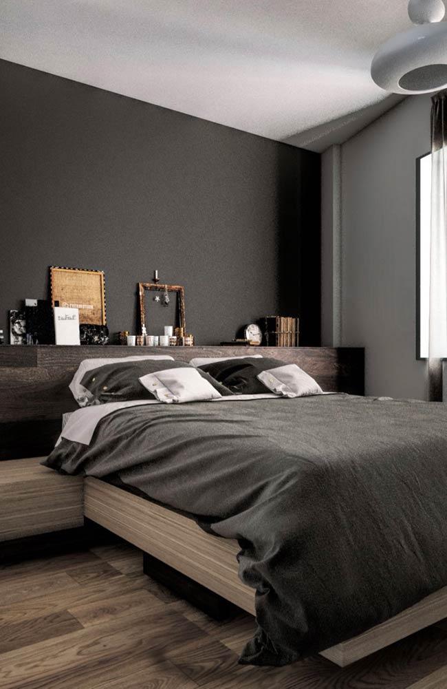 Tons de cinza no quarto moderno masculino