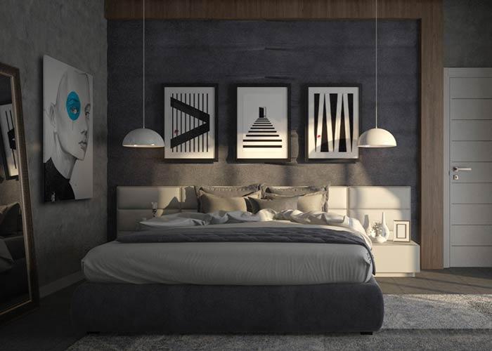 Linhas retas e simetria em quarto de casal masculino