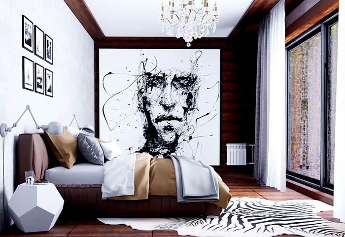 Mega quadro em quarto de casal masculino