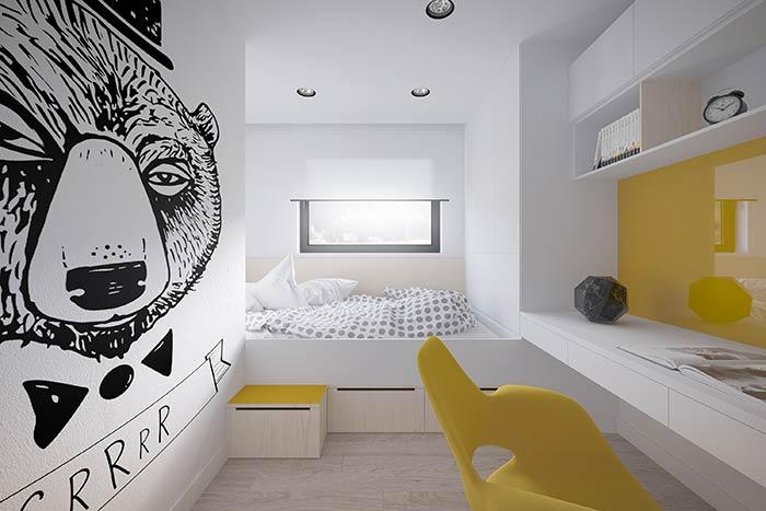 Amarelo em destaque no quarto moderno