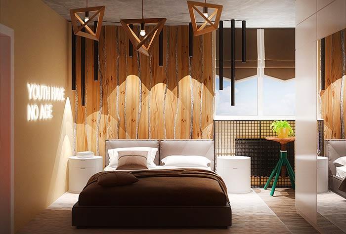 Iluminação diferente e criativa para quarto