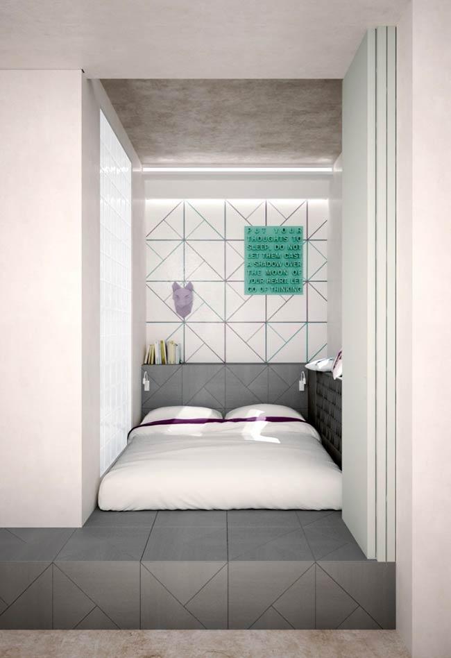 Espaço mínimo para quarto moderno