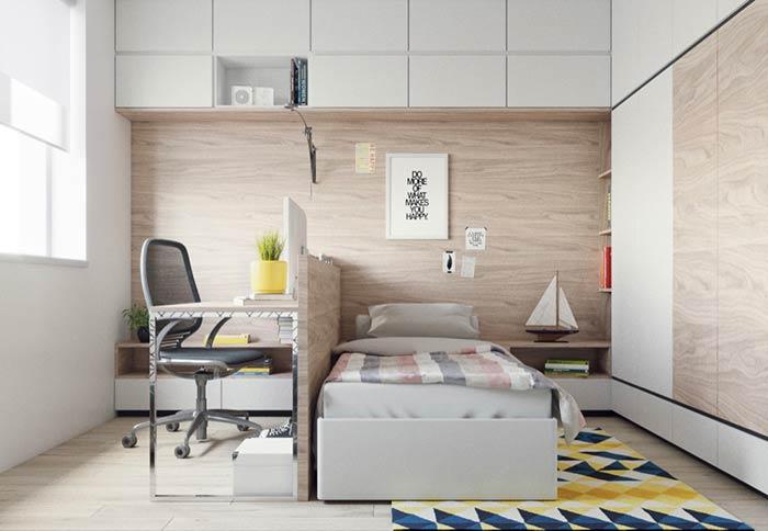 Divisão para escritório no quarto moderno