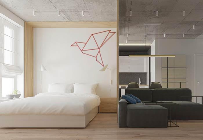 Quarto moderno para loft