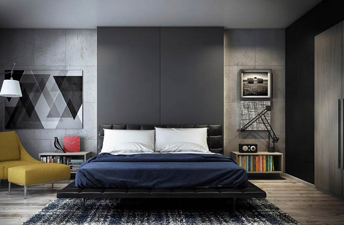 Quarto moderno baseado no cimento e preto